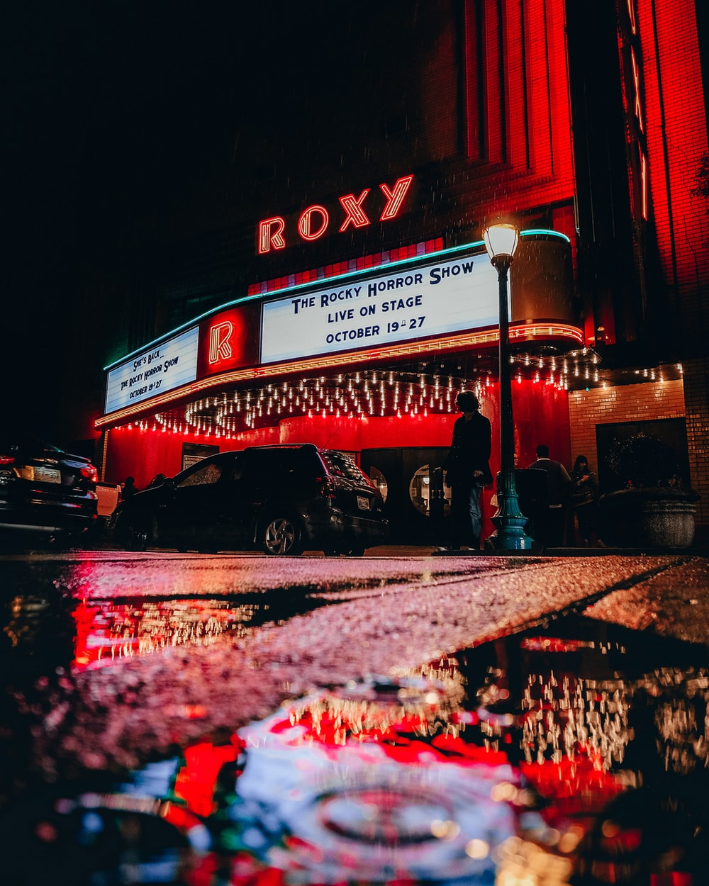 Roxy theater during rainy day