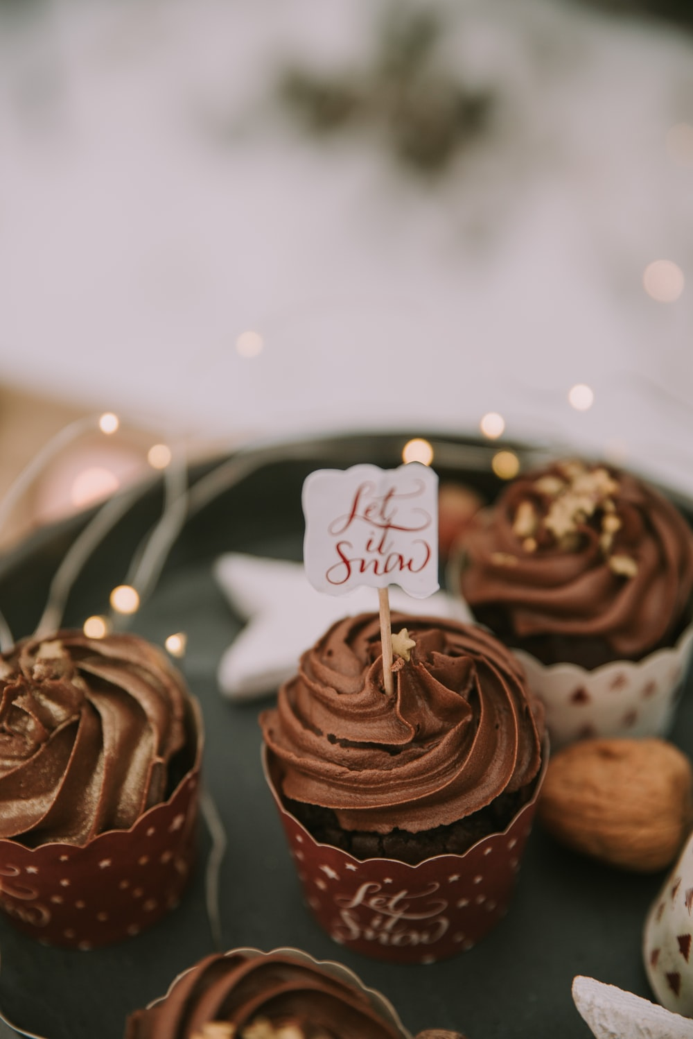 several chocolate cupcakes