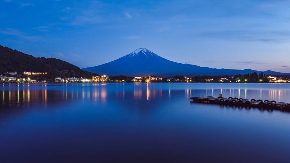 mount Fuji at night time