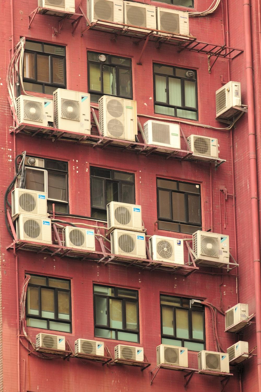 white AC condenser units