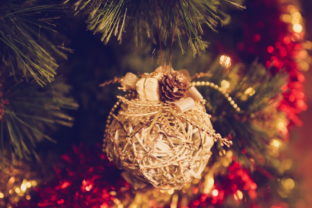 macro photography of brown baubles