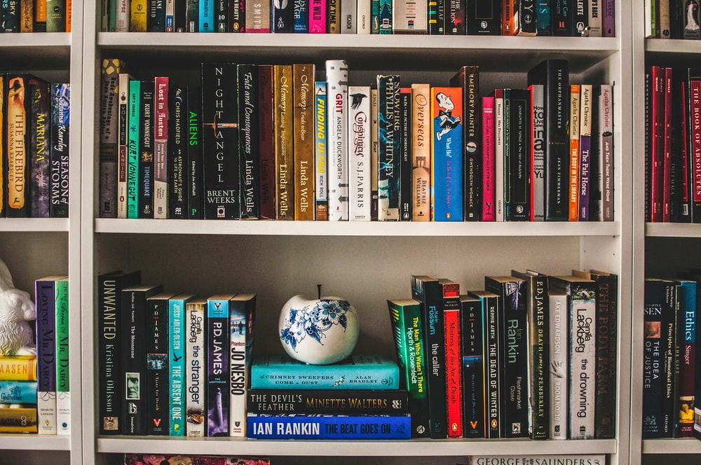 assorted-labeled book lot on white wooden shelf