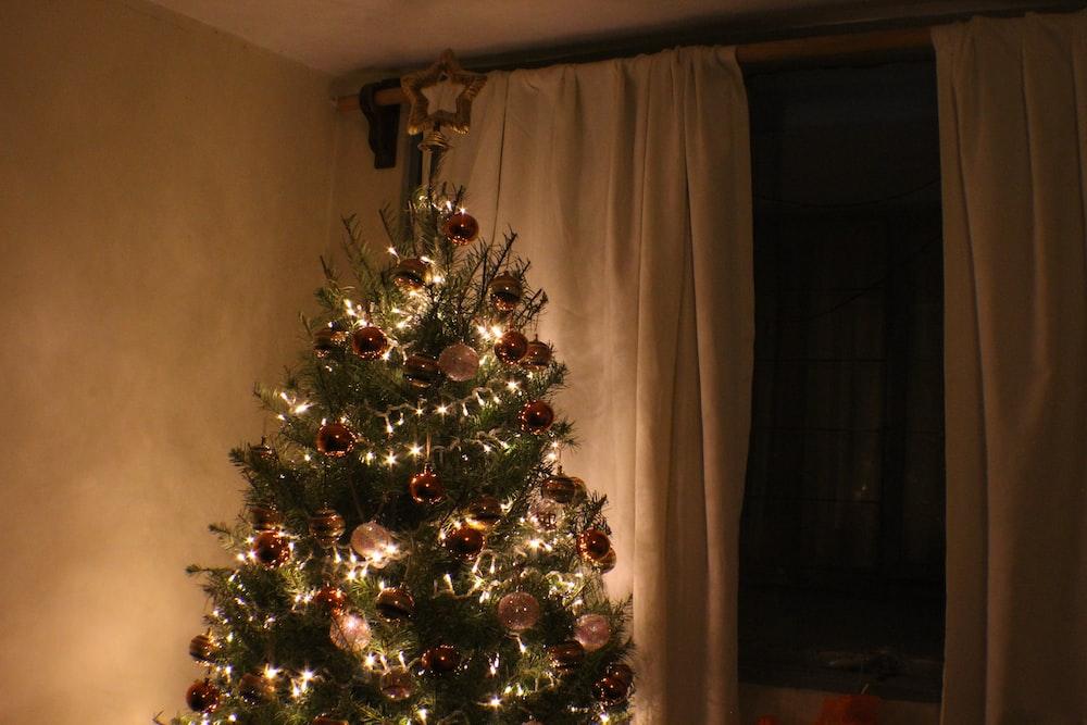 Christmas tree beside panel curtain