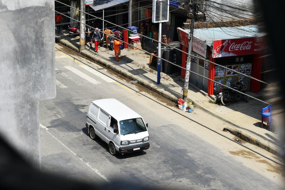 white panel van on the street