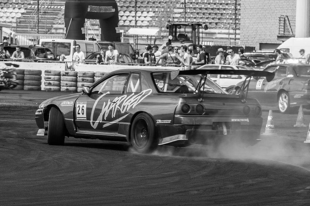 speeding car on race track