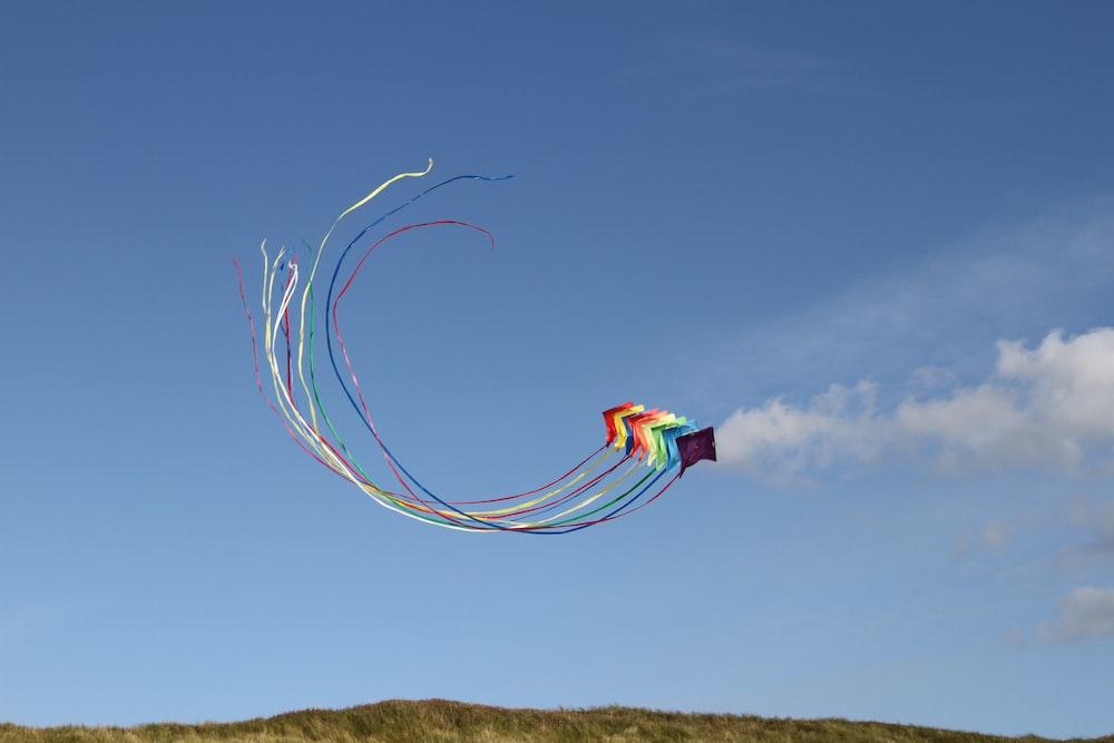 LGBT kite in midair landscape photograph