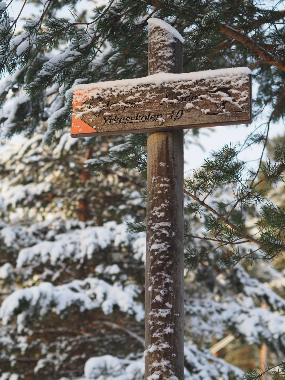 brown wooden sign
