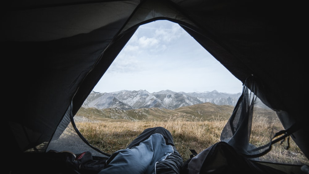 man in tent