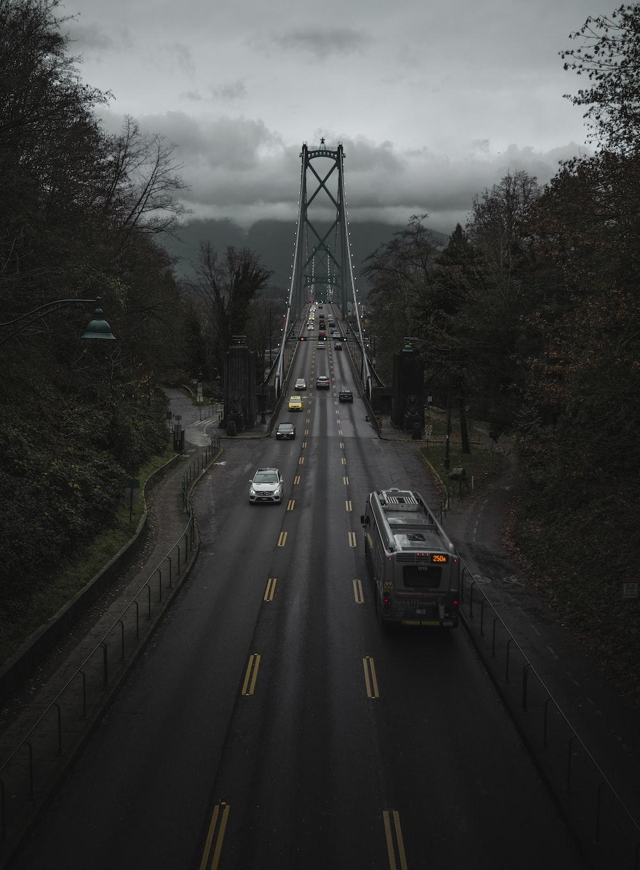vehicles passing on bridge