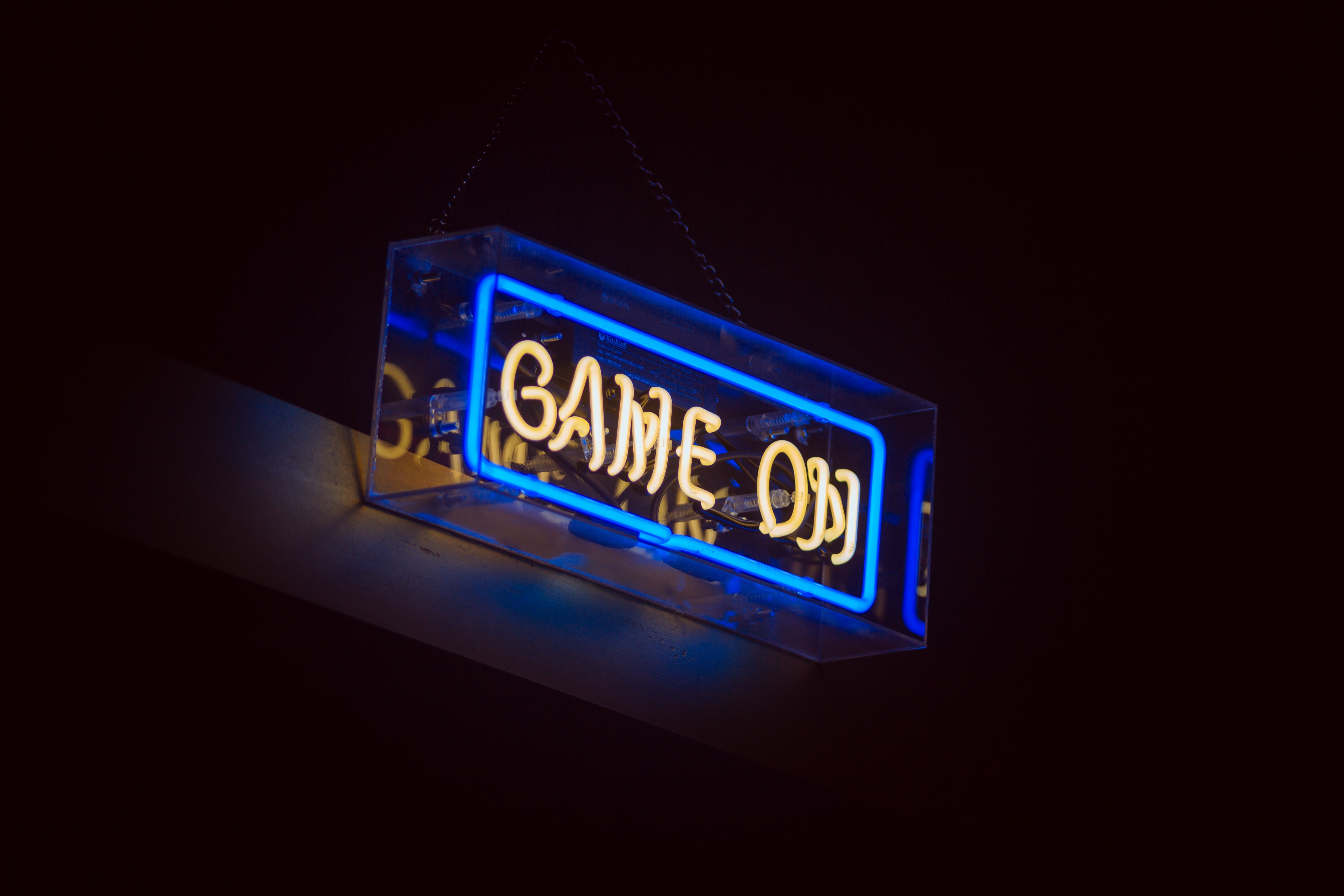 Game on neon signage turned on
