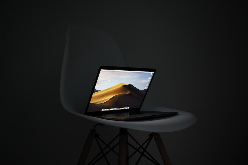 MacBook Pro on chair