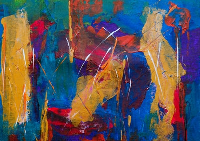 yellow, blue, purple, red, and green abstract painting expressionism zoom background