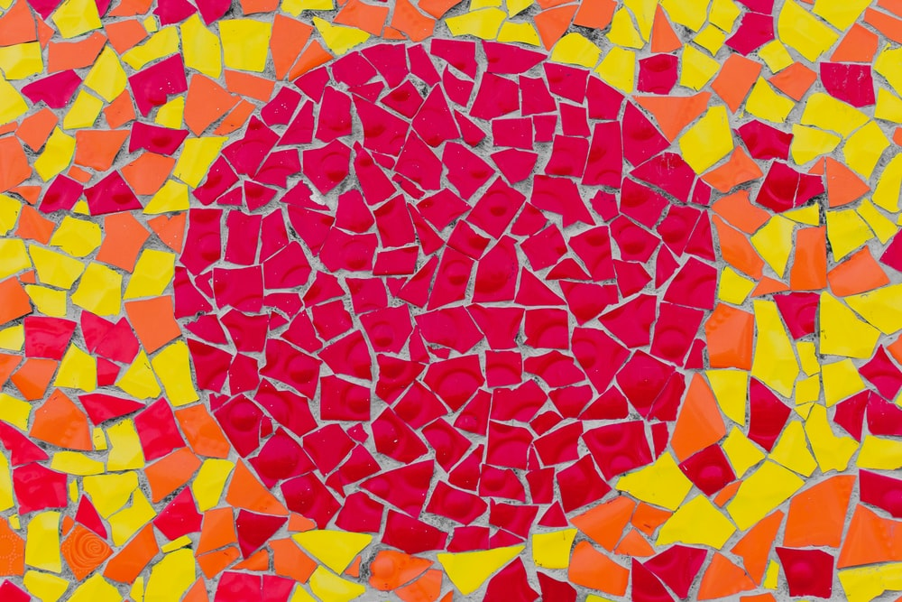red, orange, and yellow artwork