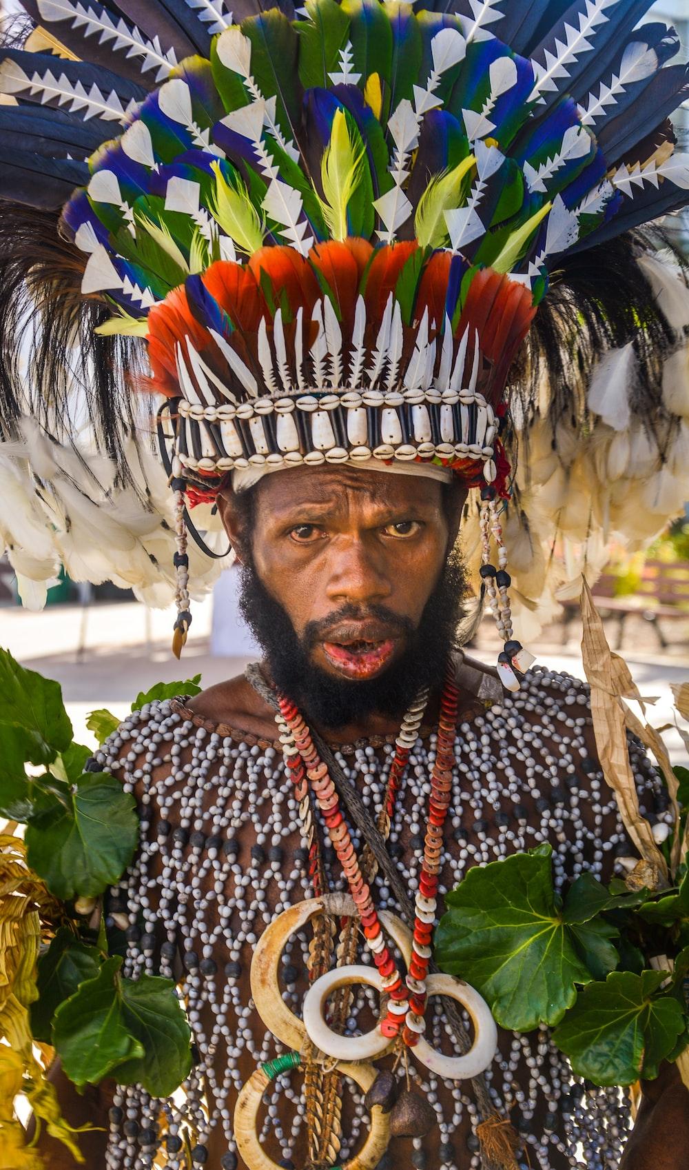 man wearing tribal robe