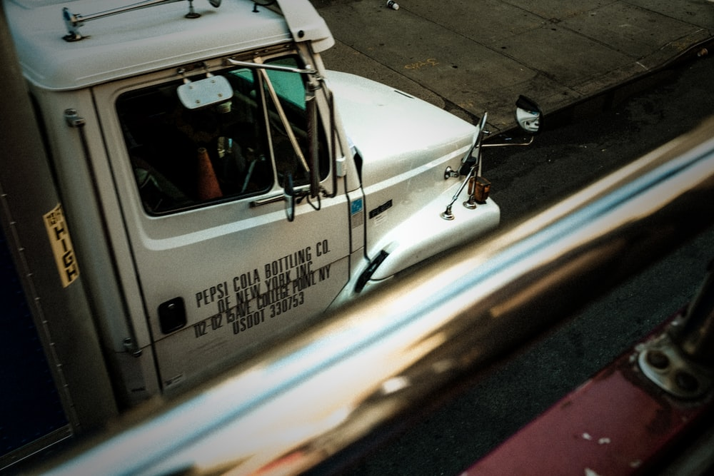 white truck on road