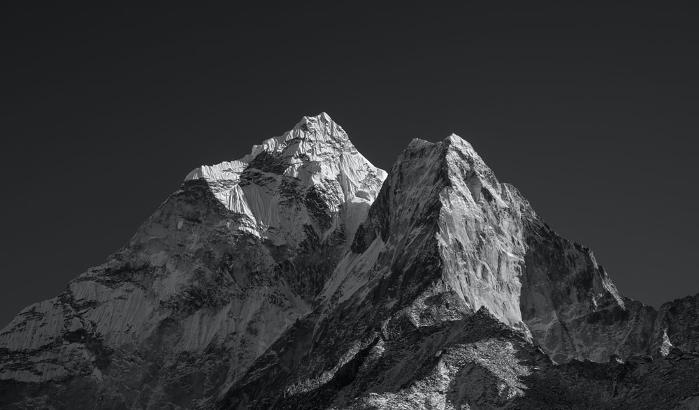 grayscale of mountain