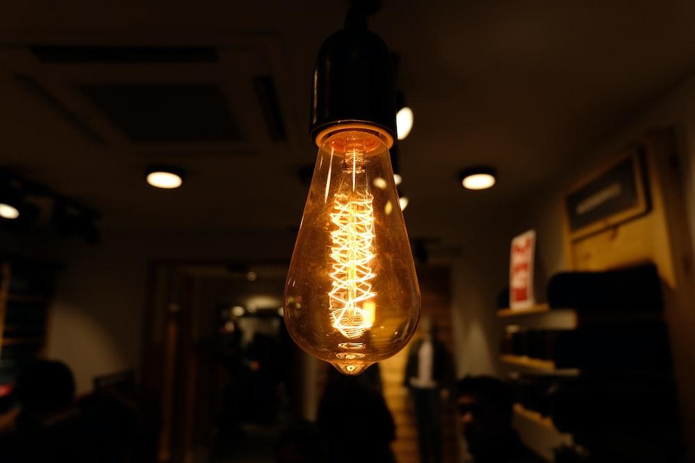 light orange pendant bulb inside room