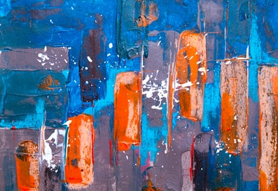 blue and orange abstract painting expressionism zoom background
