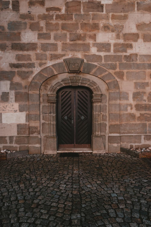 closed black doors