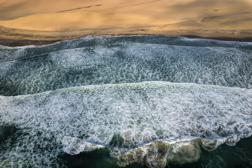 Sea Waves Near Desert