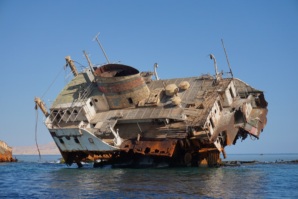 gray ship on sea