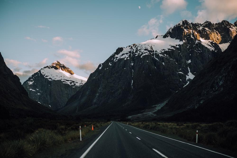 empty road between mountains