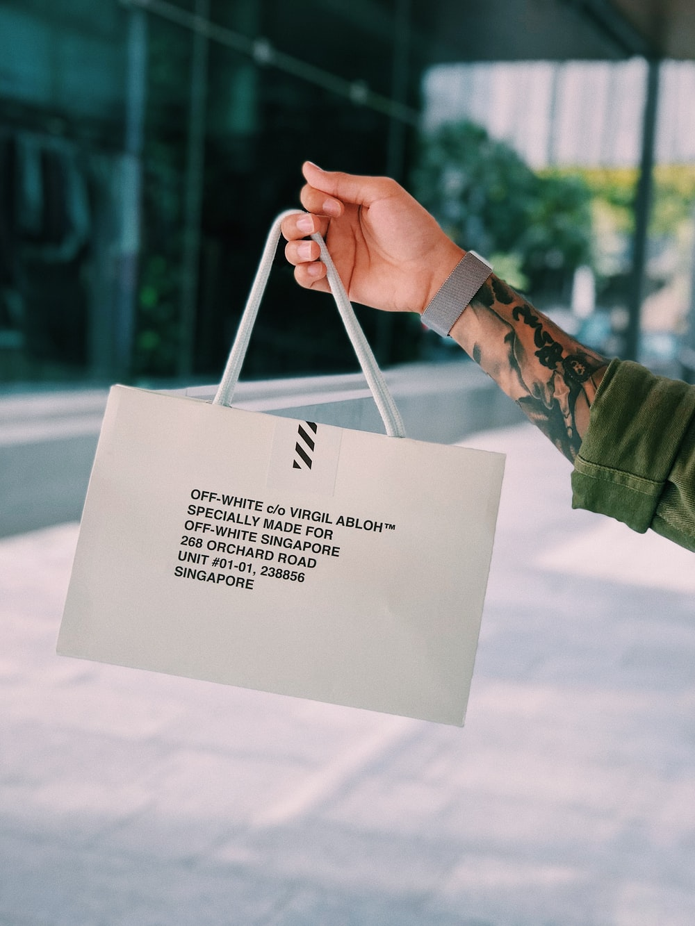 white Off-White paper bag