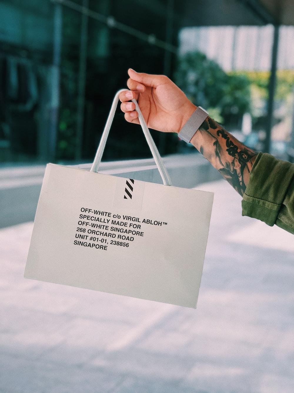 white Off-White paper bag