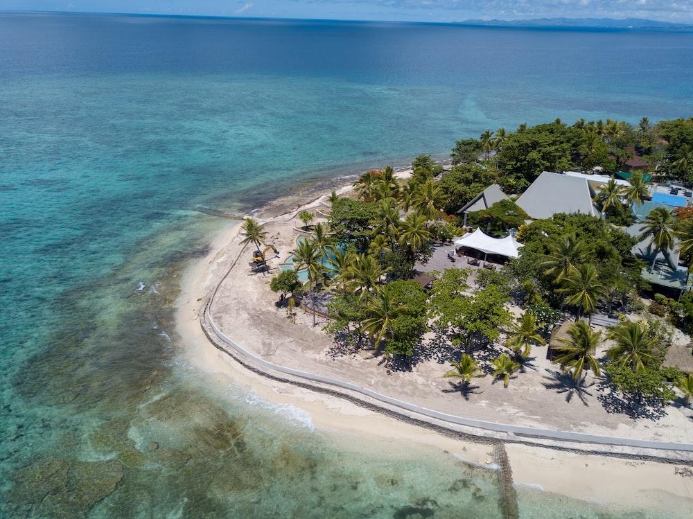 aerial view of island resort