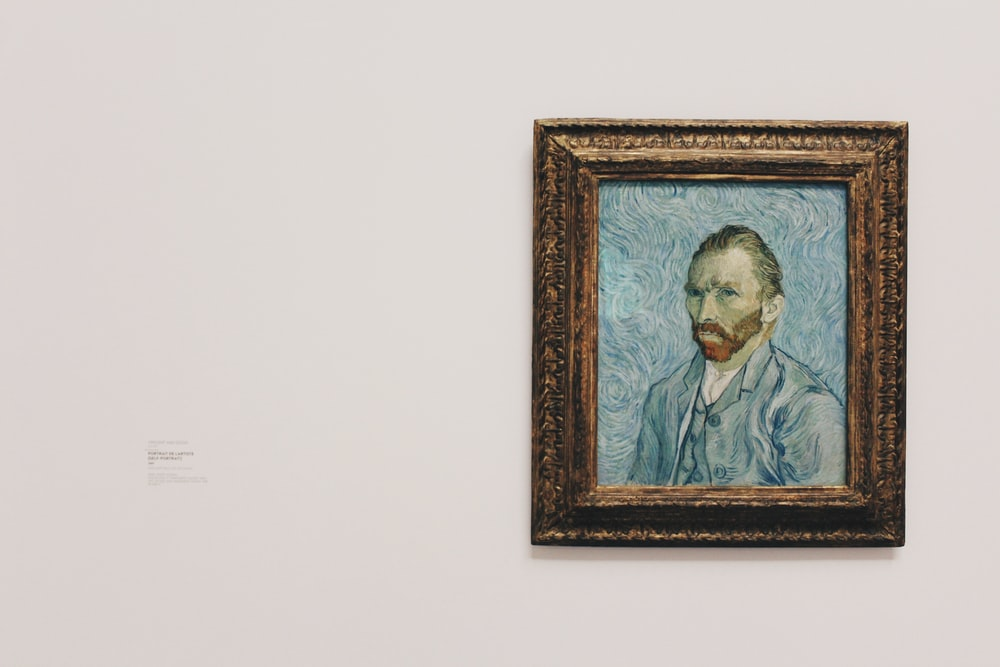 Vincent Van Gogh self portrait painting on wall