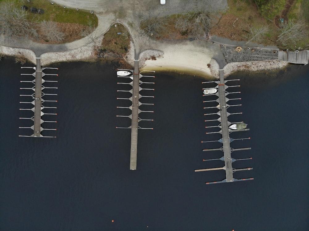 three brown wooden docks