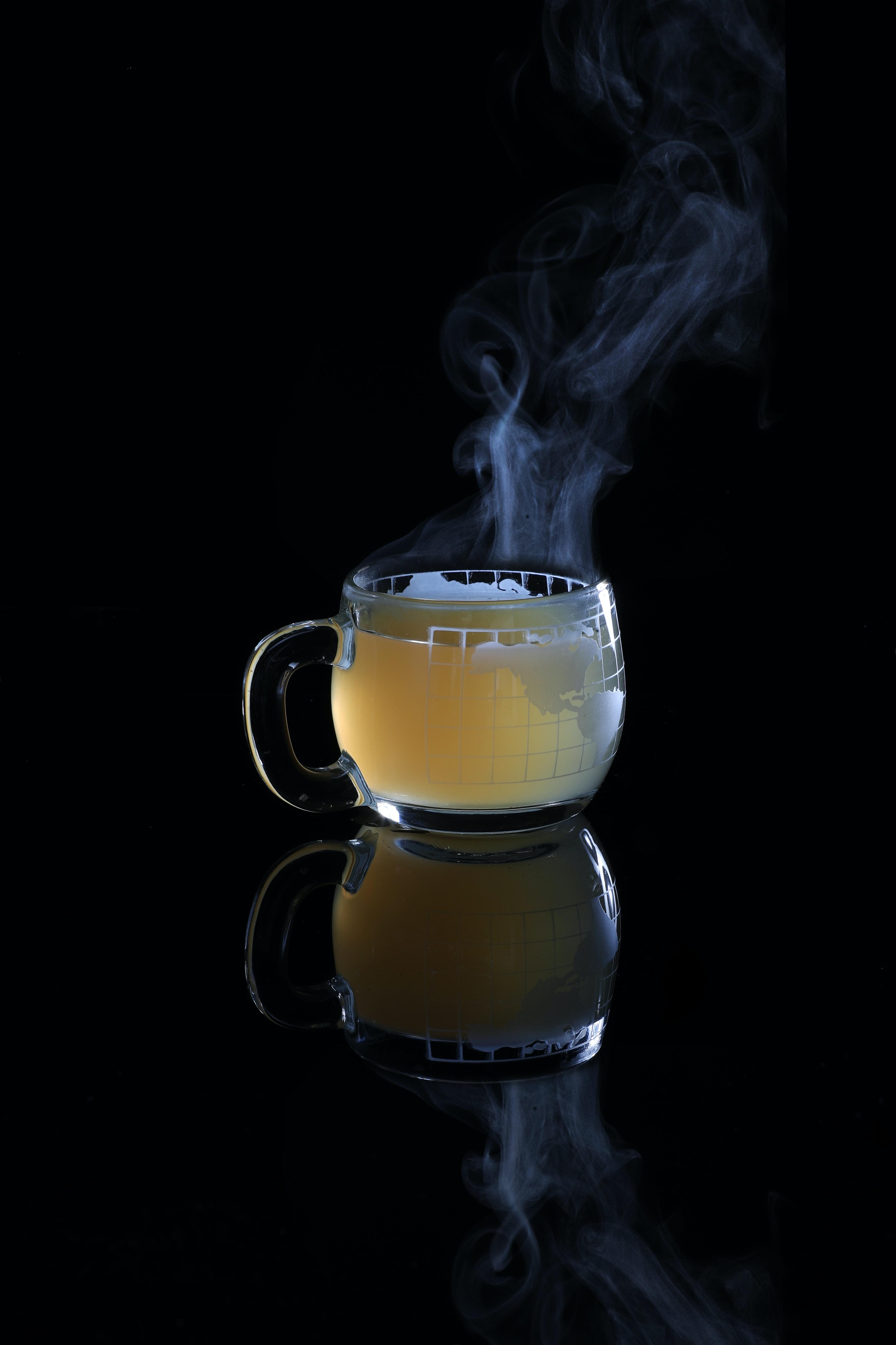 glass mug with hot liquid