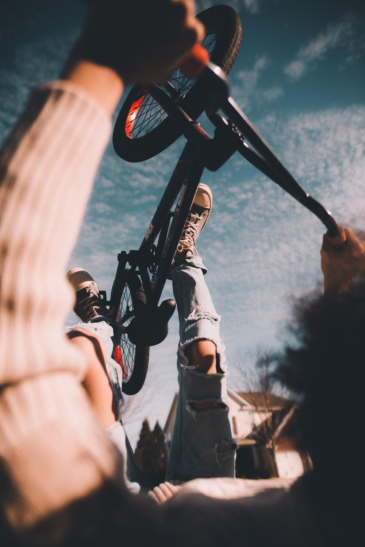 person doing bike trick