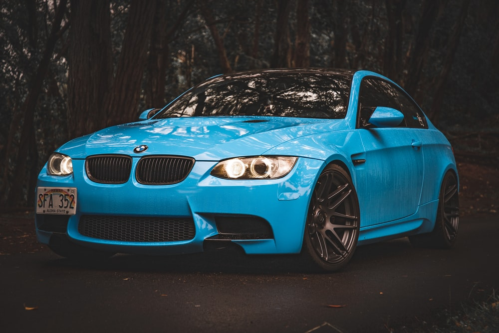 blue BMW coupe