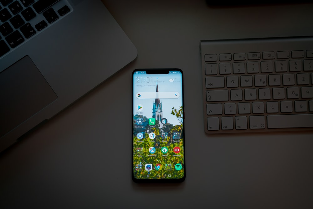 turned-on smartphone
