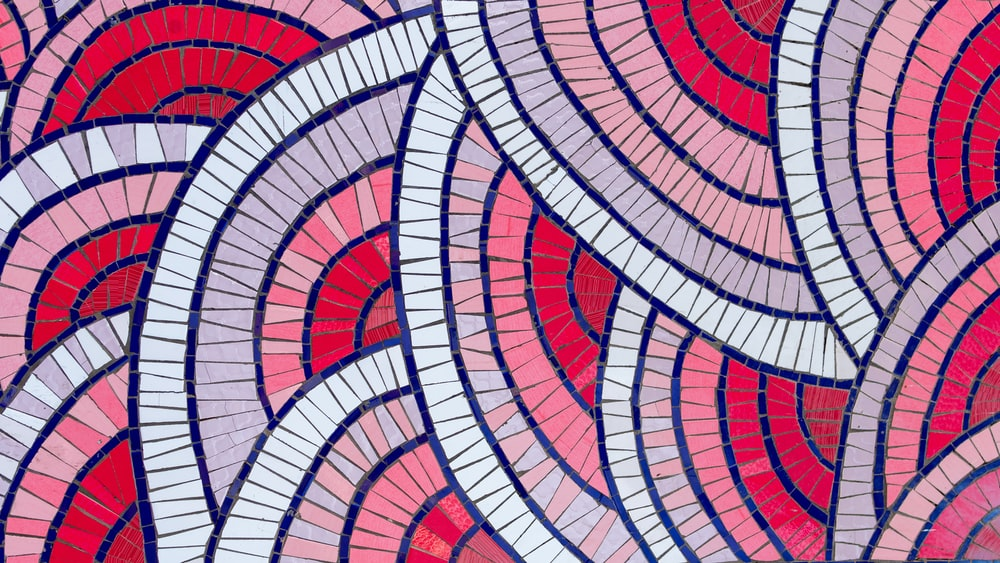 red, white, black, and pink abstract artwork
