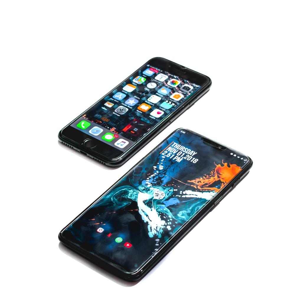 two black smartphones