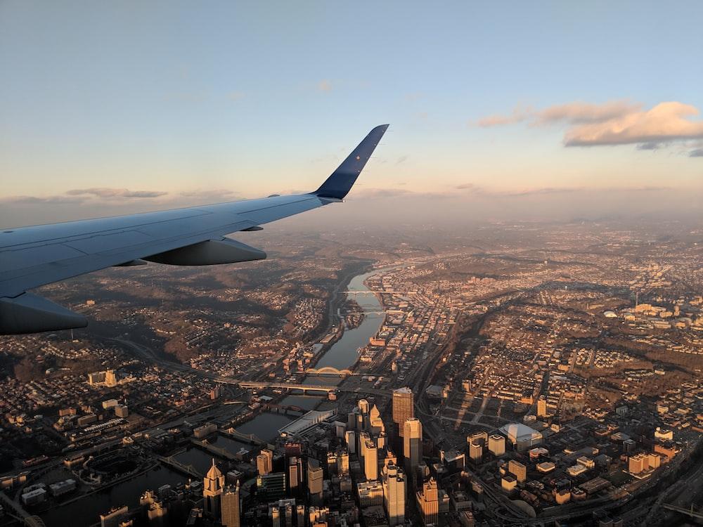 aerial view of body of water between buildings