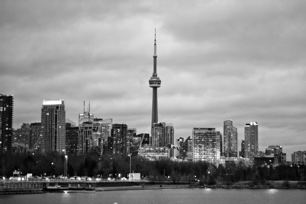 CN Tower grayscale photography