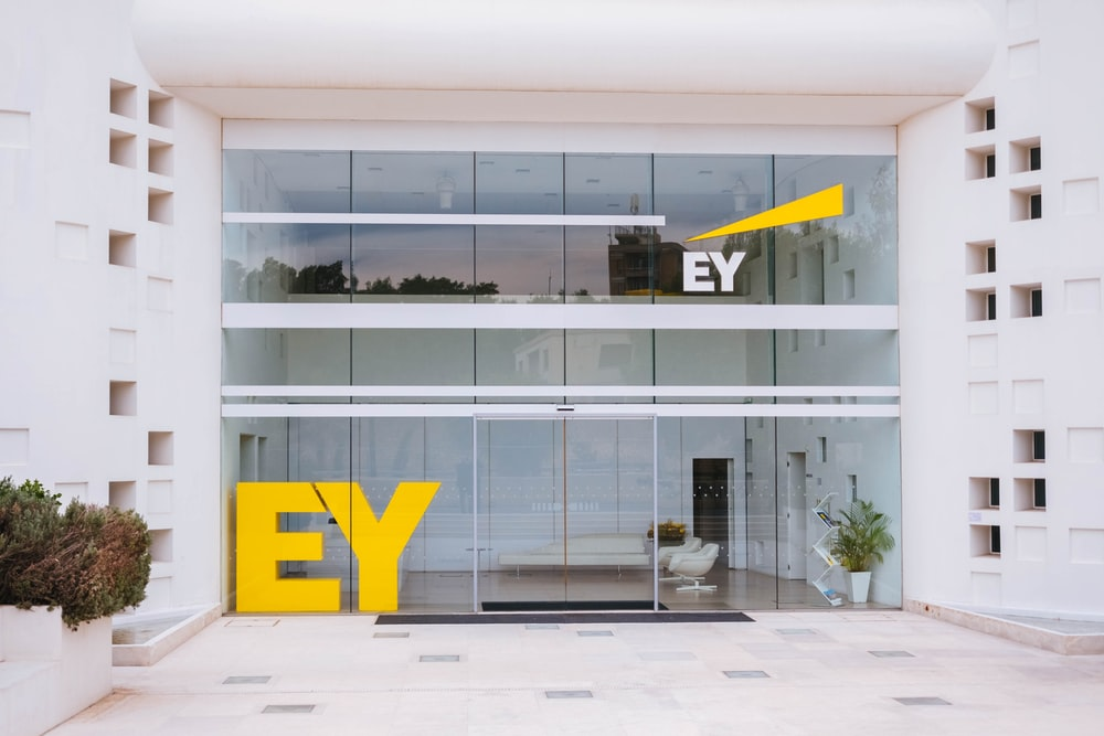 Ey glass walled building