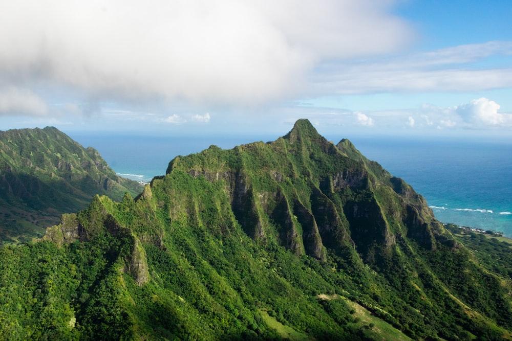 aerial photo mountain peak