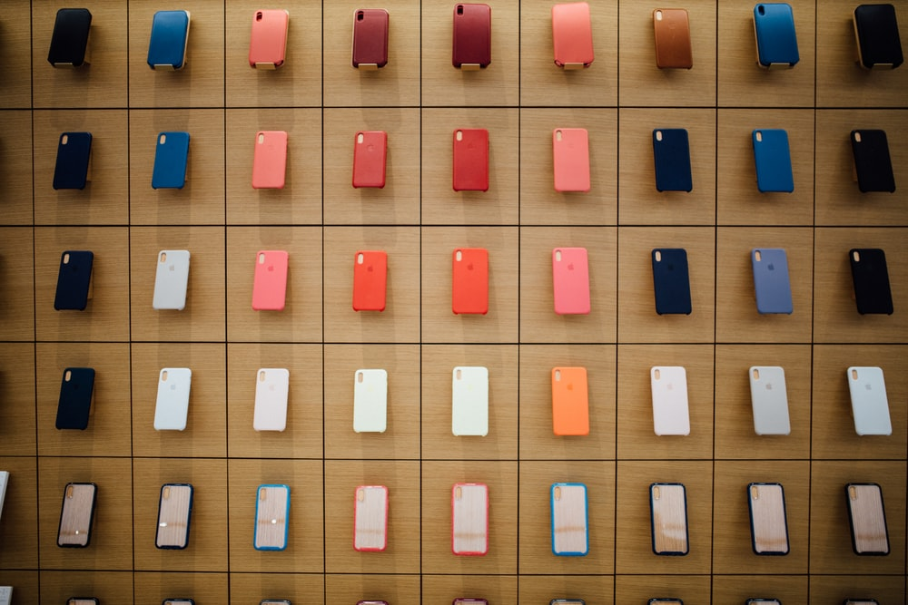 assorted-color iPhone cases