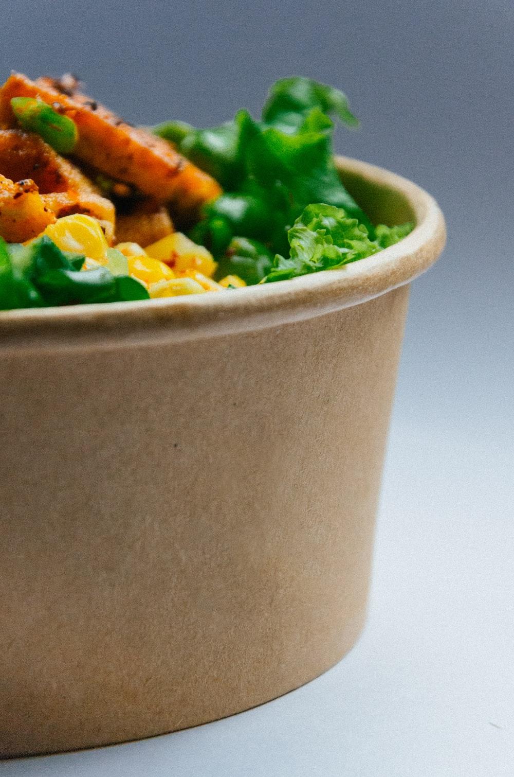vegetable salad on gray ceramic bowl
