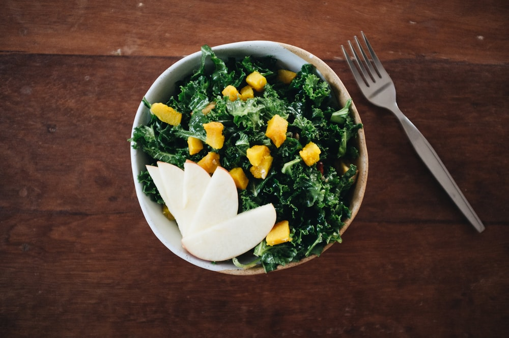 vegetable dish on gray bowl
