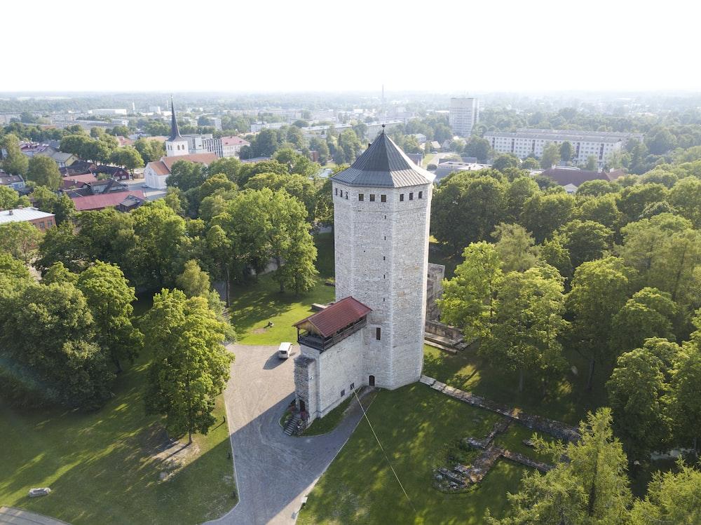 bird's eye view of white tower