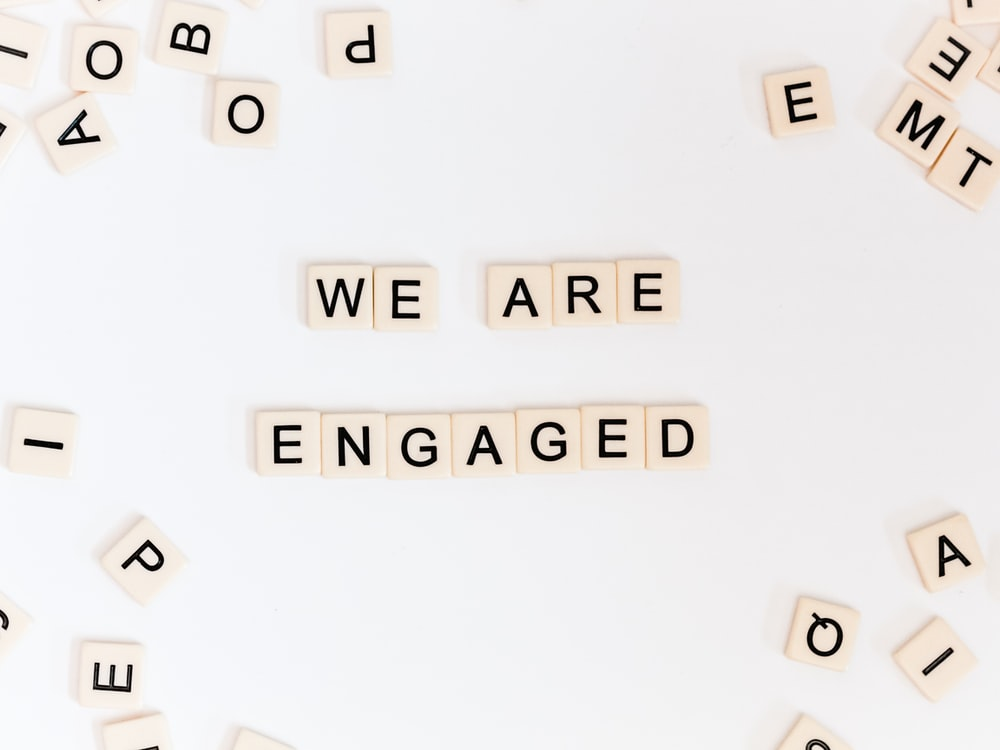 we are engaged letter blocks
