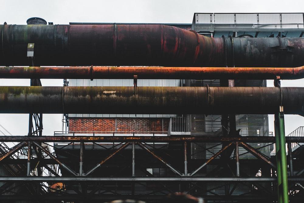 large brown metal pipes