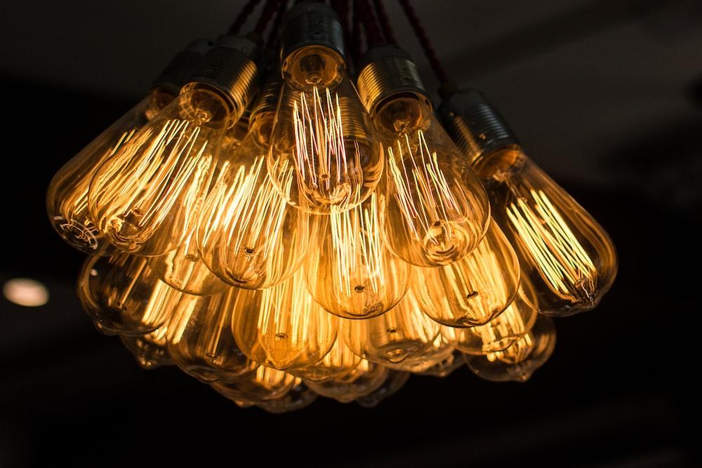 lighted yellow bulbs