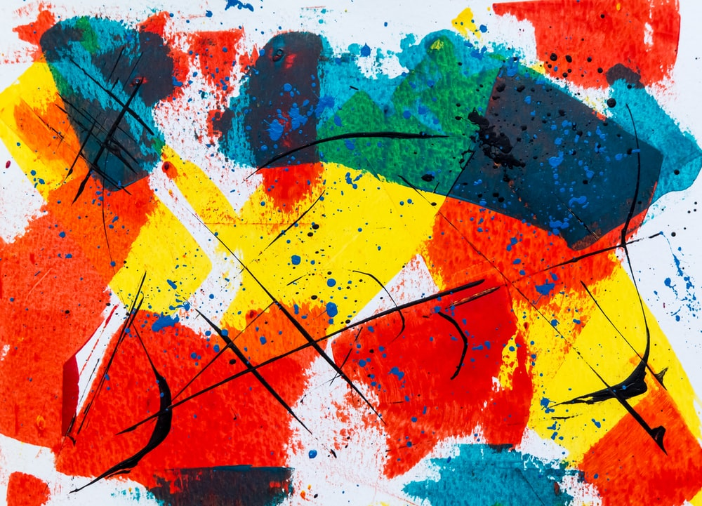 red and multicolored abstract painting