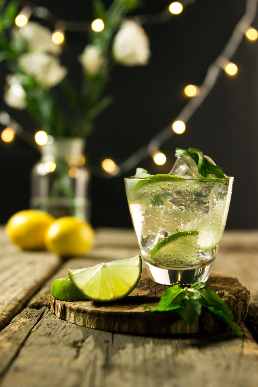 lime beverage on wooden board